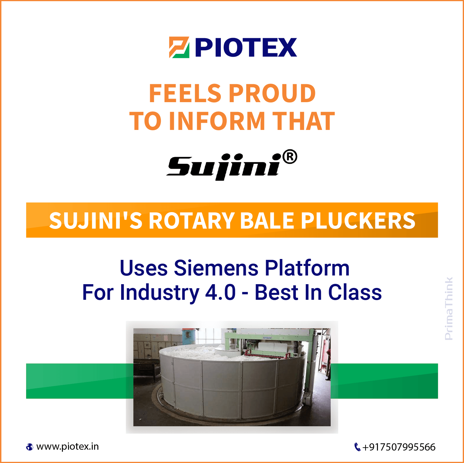 Sujini Rotary Bale Pluckers uses Siemens Platform for Industry 4.0